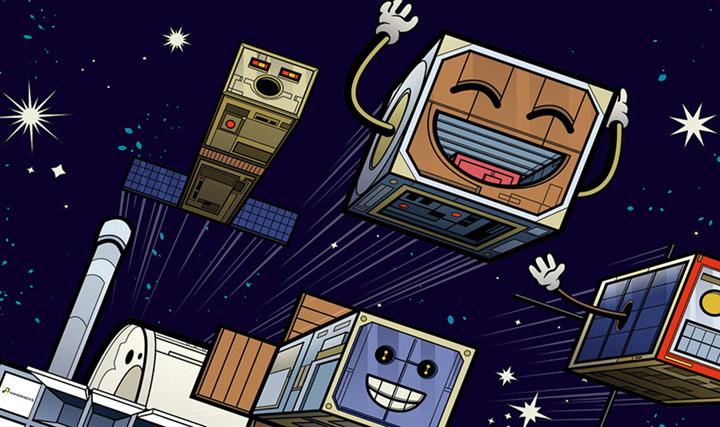 4 happy cartoon cubesats
